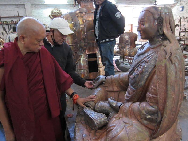 Sangay and Lama Zopa Rinpoche checking the progress of the Padmasambhava statues for Lawudo