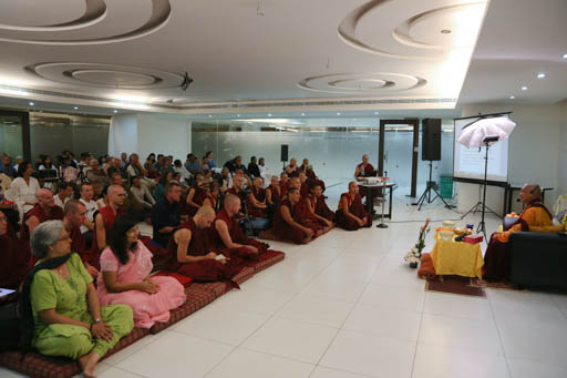 Lama Zopa Rinpoche giving a public talk organized by Choe Khor Sum Ling, Bangalore, India, January 2015. Photo by Ven. Thubten Kunsang.