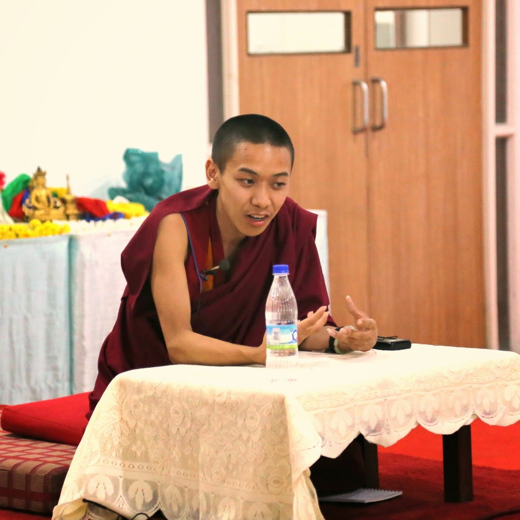 Charok Lama doing questions and answers in Bangalore, India, March 2014. Photo by Ven. Thubten Kunsang.