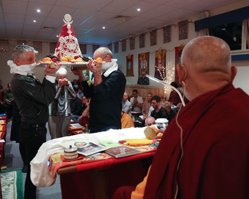 Lama Zopa Rinpoche at Lama Chöpa tsog offering at Buddha House in Adelaide, Australia, May 2015. Photo by Ven. Thubten Kunsang.