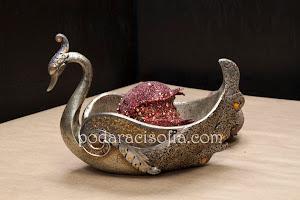 Оригинална фруктиера лебед в златно