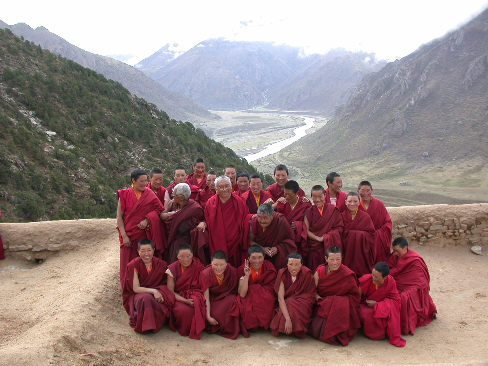 Lama Zopa Rinpoche with nuns from a nunnery he supports
