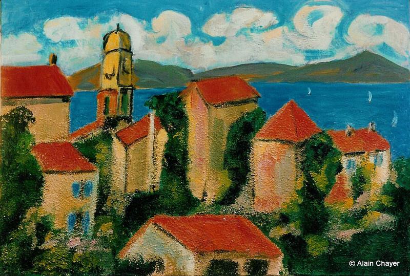 011 - Saint-Tropez - 1991 55 x 38 - 10 F - Acrylique sur toile