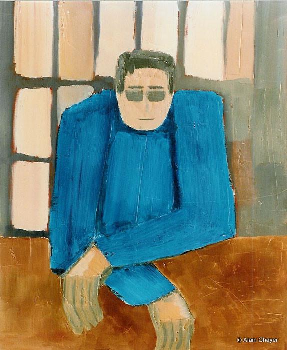 029 - En Attendant le Garçon - 1993   61 x 50 - Acrylique sur toile