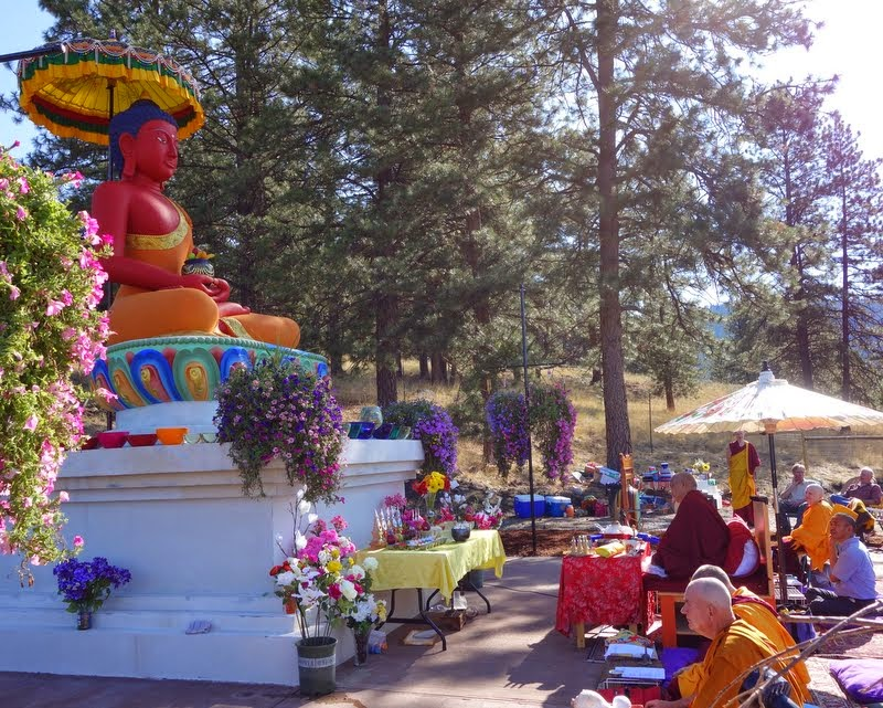 Rinpoche consecrates the new statue on Amitabha celebration day, Buddha Amitabha Pure Land, Washington, US, August 2014. Photo by Ven. Roger Kunsang.