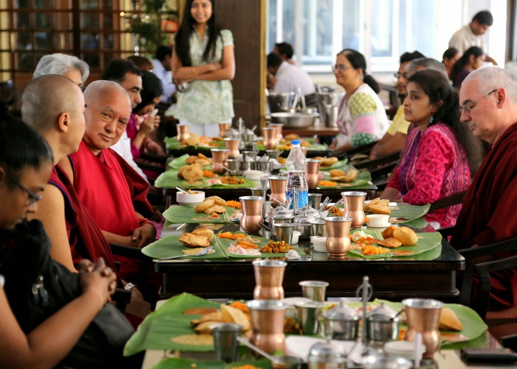 Lama Zopa Rinpoche offered lunch of South Indian thali on banana leaves to members of Choe Khur Sum Ling Study Group, Bangalore, India, March 2014. Photo by Ven. Thubten Kunsang.