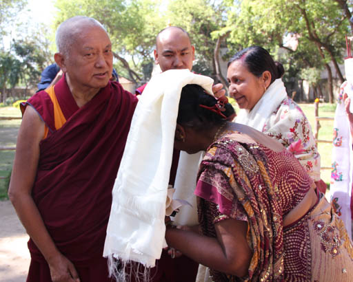 Lama Zopa Rinopche greeting the teachers at Maitreya School, which is a project of Root Institute, Bodhgaya, India, March 2015. Photo by Ven. Roger Kunsang.