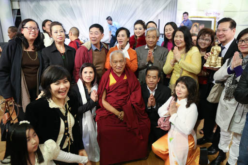 Lama Zopa Rinpoche at a fundraising dinner for the Maitreya Project in Sydney, Australia, June 2015.