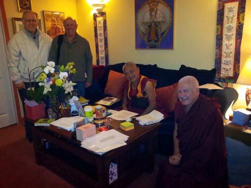 Jon Landaw, Karuna Cayton, Rinpoche and Ven.Steve Carlier at Kachoe Dechen Ling, CA