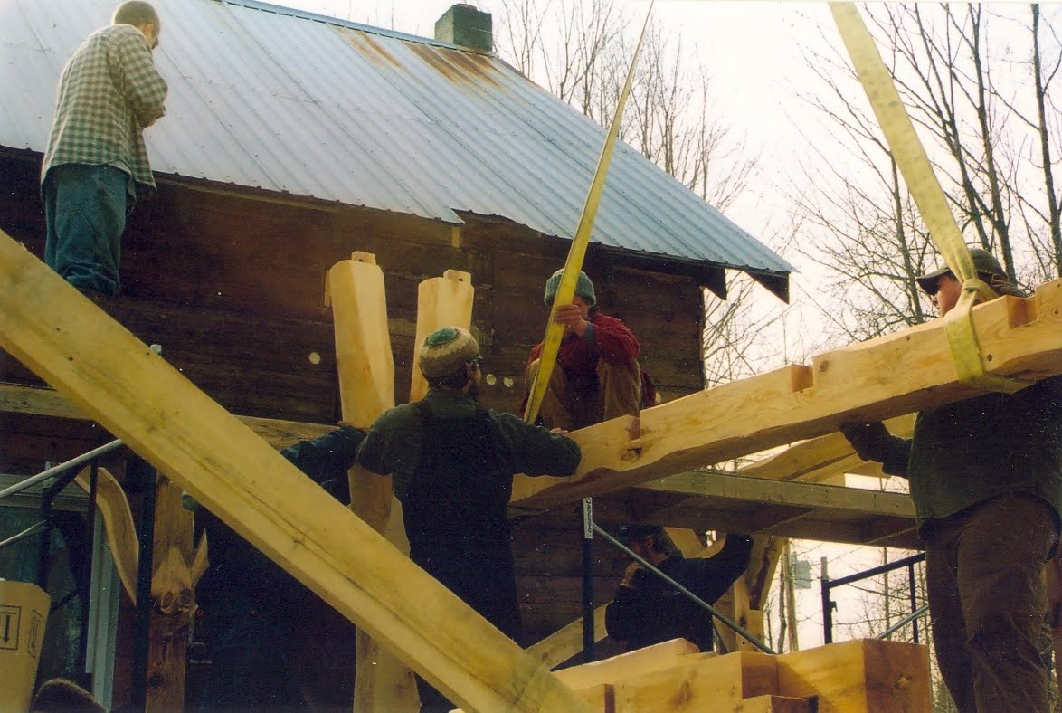 One of the tie beams coming in.