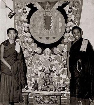 Lama and Rinpoche at Kopan in Kathmandu, Nepal  circa 1971