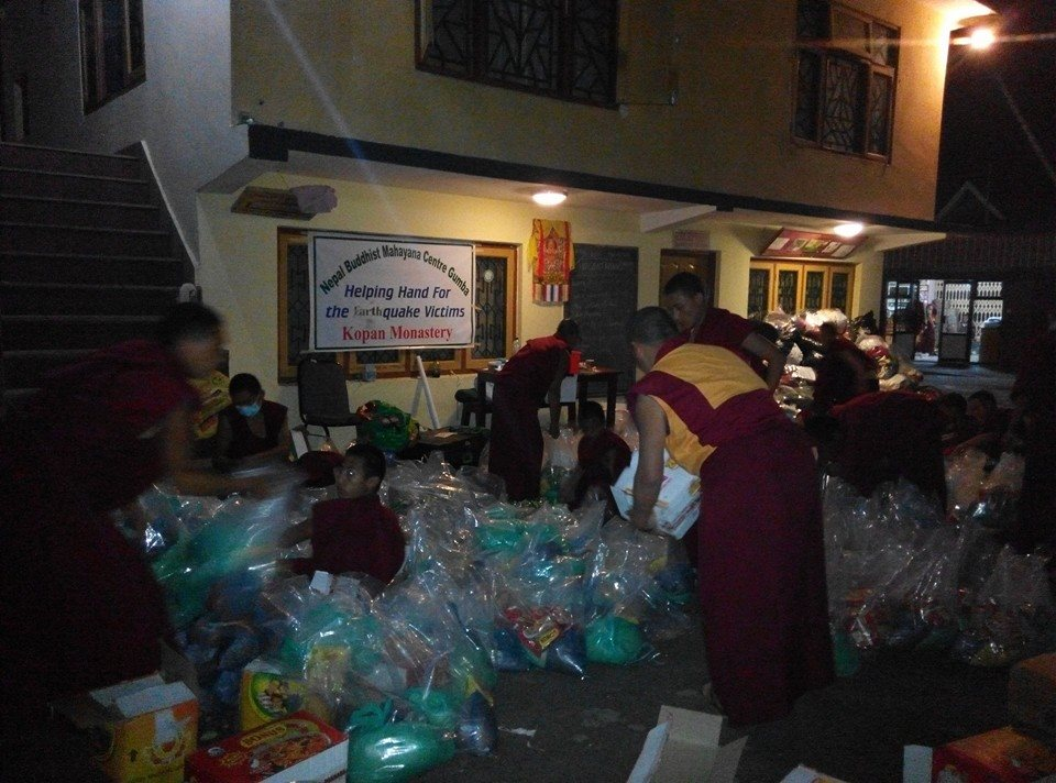 Kopan Helping Hands preparing aid packages.