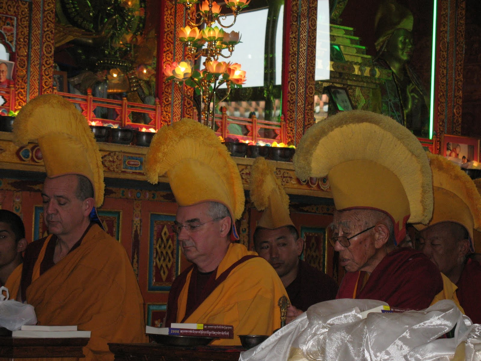 Ven.Roger Kunsang, Ven.Dondrub and senior monks during long life puja at Kopan Monastery, December, 2008