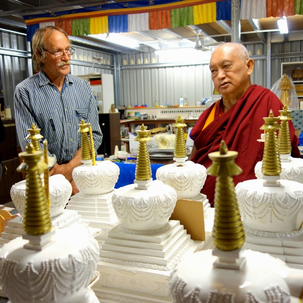 Lama Zopa Rinpoche with Garrey Foulkes visiting the arts studio at Chenrezig Institute, Australia, September 2014. Photo by Ven. Roger Kunsang.