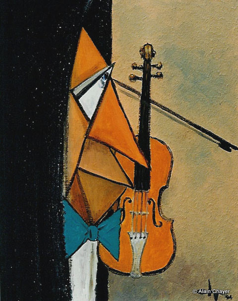 055 - Le violoniste - 1993 38 x 46 - Acrylique sur toile