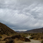 These ominous clouds framed the sky on our journey into Rockhouse Canyon