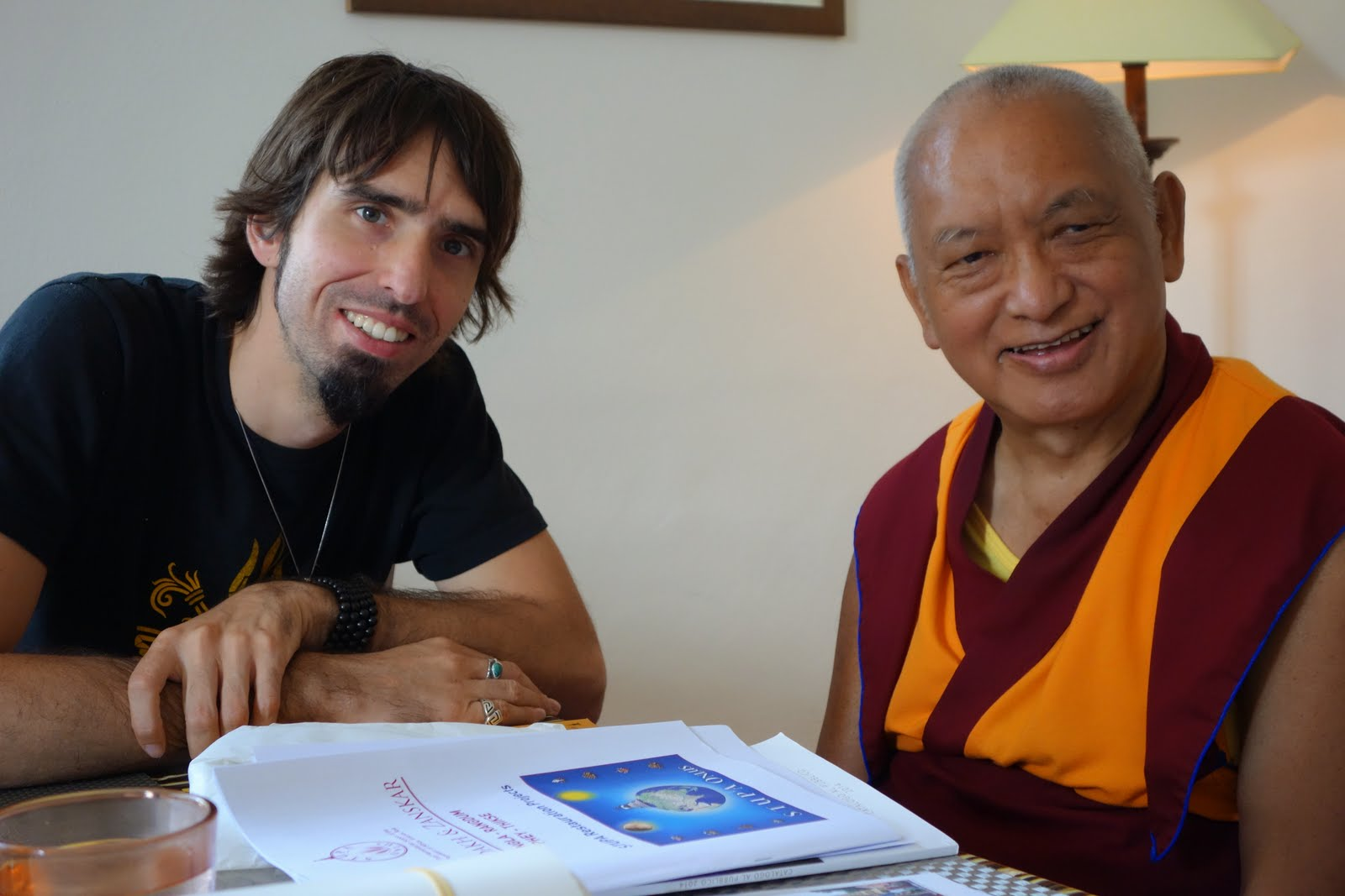 LamaZopaRinpocheandOseljustafterhavinglunchtogether. OselwasinItalyforHisHoliness the Dalai Lama'steachings. Photo byVen.RogerKunsang, June2014