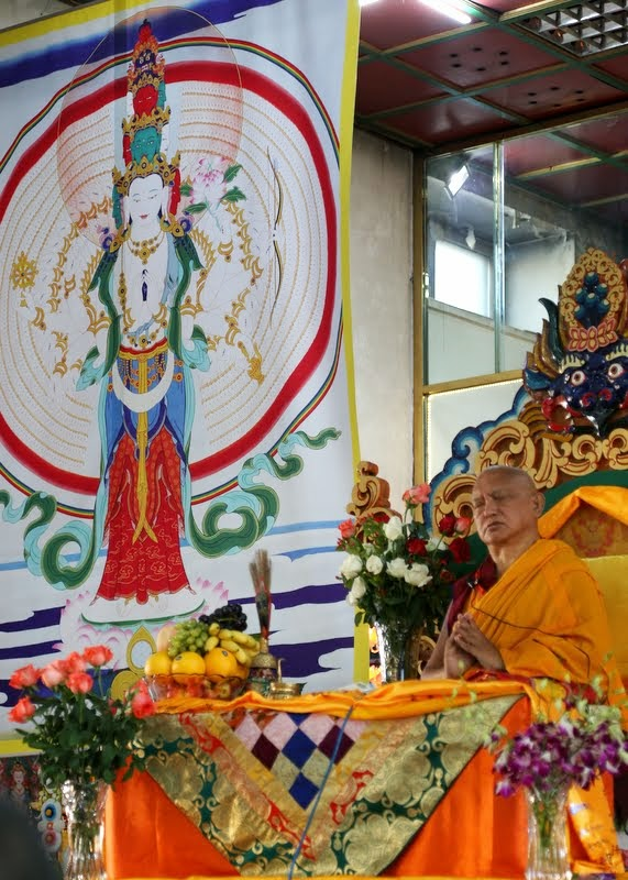Lama Zopa Rinpoche teaching at 100 million mani retreat, Idgaa Choizinling Dratsang, Ganden Monastery, Ulaanbaatar, Mongolia, August 2014. Photo by Ven. Roger Kunsang.