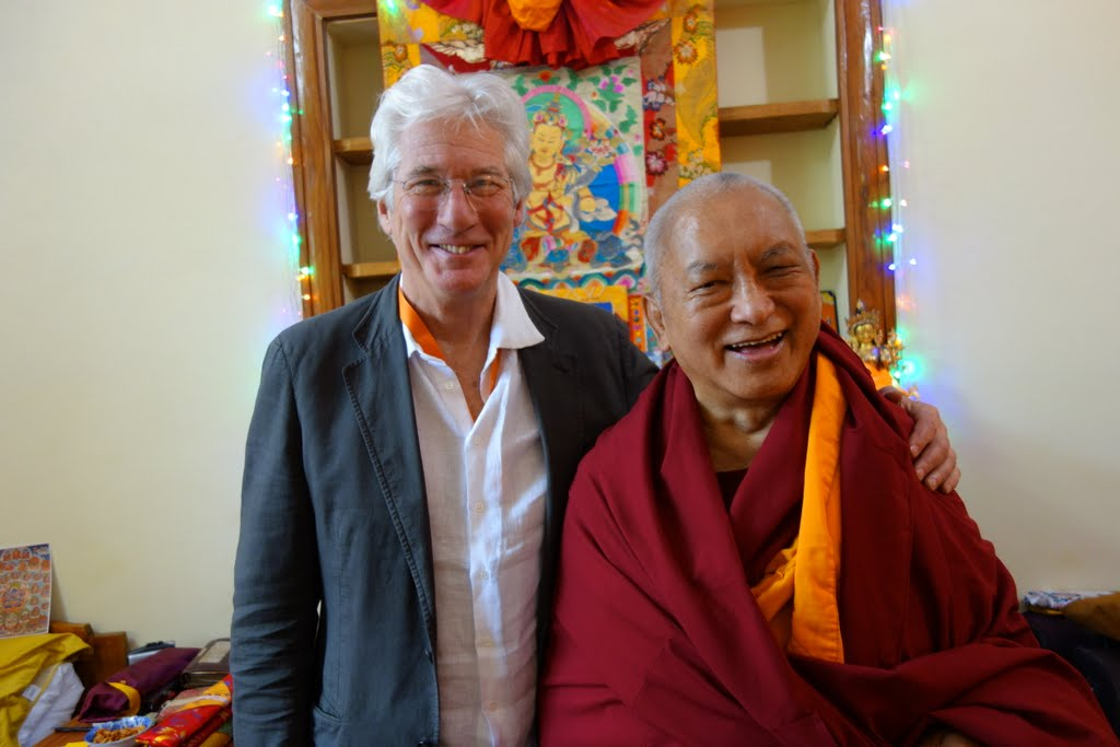Lama Zopa Rinpoche with Richard Gere, Gaden Monastery, India, December 20134. Photo by Ven. Roger Kunsang.