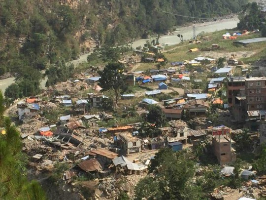 Birds-eye view of the devastation of the Dolakha District of Nepal.
