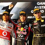 2011 Australian F1 GP podium: 1. Vettel 2. Hamilton 3. Petrov