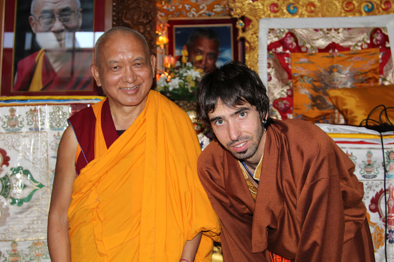 Lama Zopa Rinpoche and Osel in Kopan Monastery July 2011 after Osel gave a talk to the monks