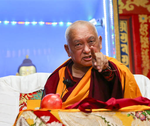 Lama Zopa Rinpoche teaching at  Root Institute, India, February 2015. Photo by Ven. Thubten Kunsang.