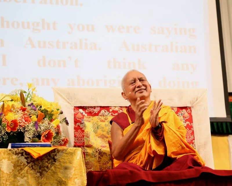Lama Zopa Rinpoche teaching at Light of the Path retreat, North Carolina, US, May 2014. Photo by Ven. Thubten Kunsang.