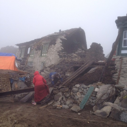 A collapsed house in Thame, Solu Khumbu district, Nepal, April 28, 2015. Photo by Jimmy Grant.