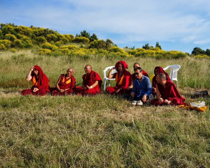 Doing prayers on the retreat land near ITLK, Italy, June 18, 2014. Photo by Ven. Roger Kunsang.