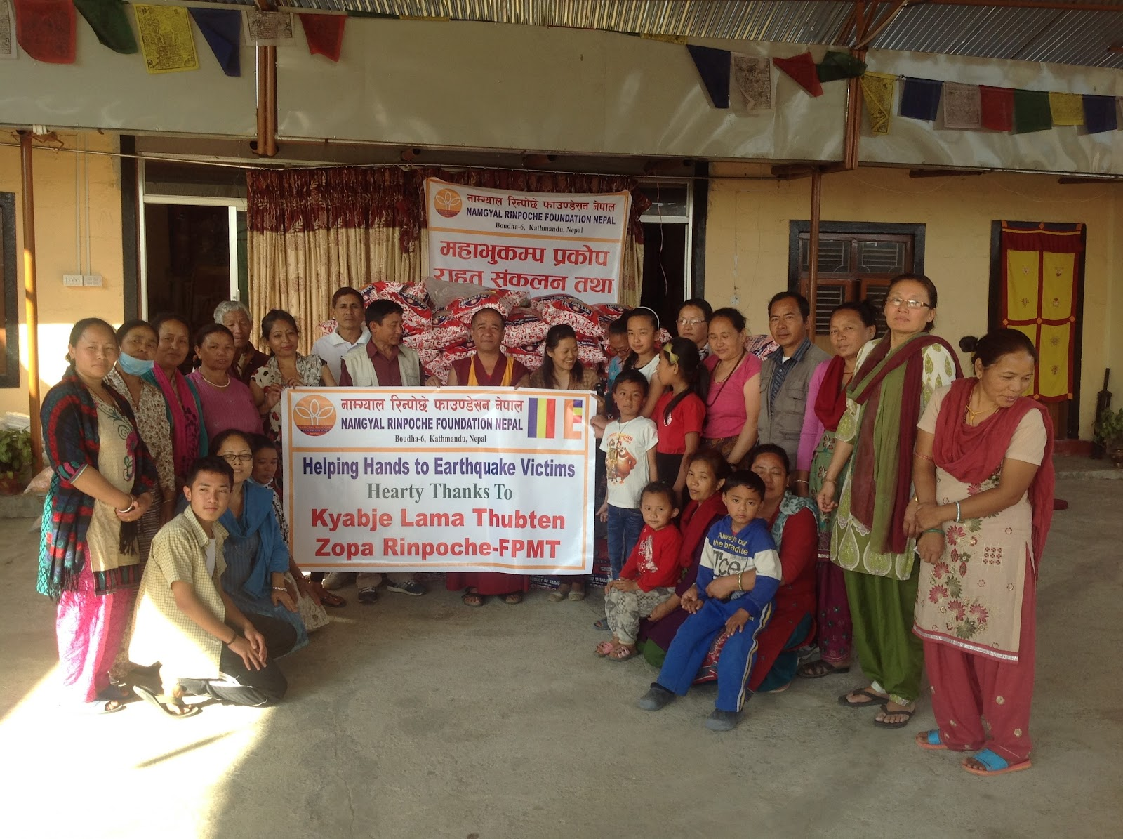 Namgyal Rinpoche Foundation received funding from the Nepal Earthquake Support Fund to distribute aid.