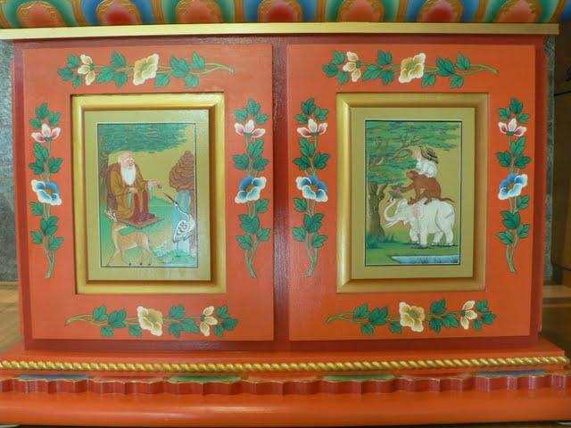 Base of Red Tara statue painted by Gelek, FPMT International Office, Oregon, USA