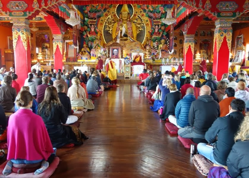 Lama Zopa Rinpoche teaching to about 250 students attending the one-month meditation course on the morning of Lhabab Duchen, Kopan Monastery, Nepal, November 24, 2013. Photo by Ven. Roger Kunsang.