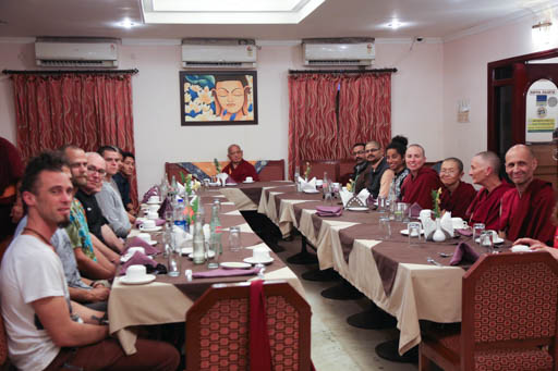 Lama Zopa Rinpoche having lunch with students in Bodhgaya, India, February 2015. Photo by Ven. Thubten Kunsang.