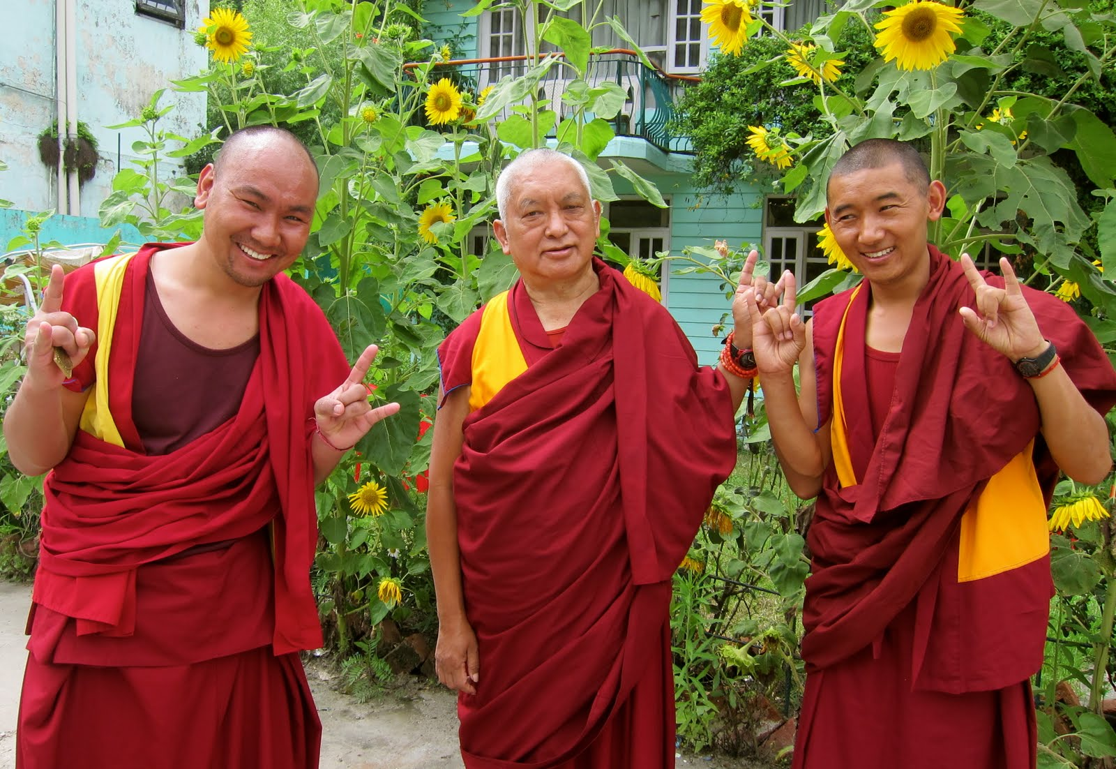 Rinpoche with Ven.Tendar and Ven. Sangpo in Manali, India, July 30, 2013. Photo: Ven. Sarah Thresher.