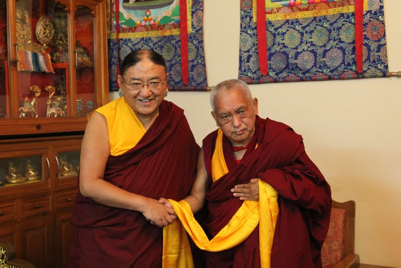 His Holiness the Sakya Trizen with Lama Zopa Rinpoche, Dheradhun 2012