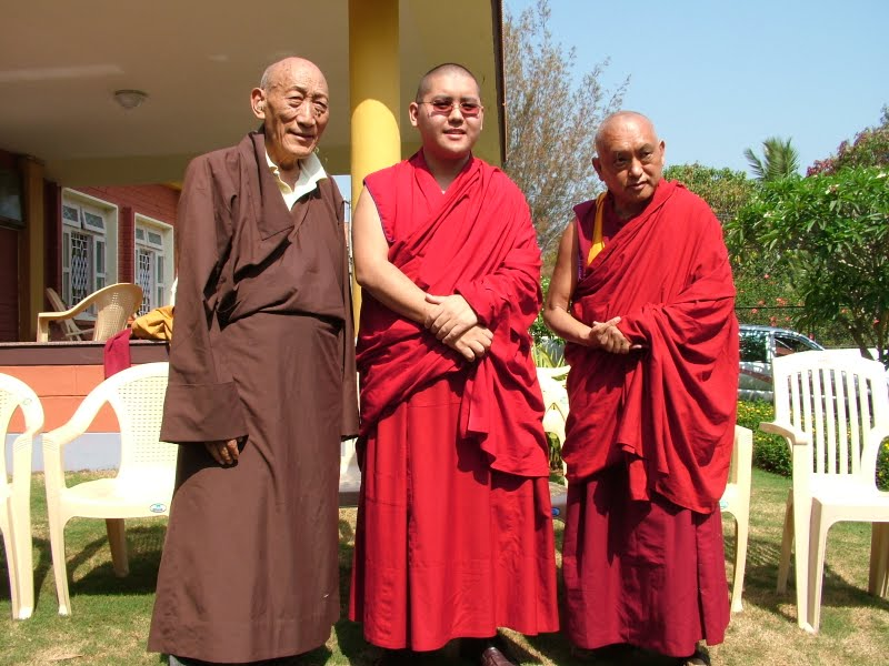 Khong la Rato Rinpoche, His Holiness Ling Rinpoche and Lama Zopa Rinpoche, South India 2008