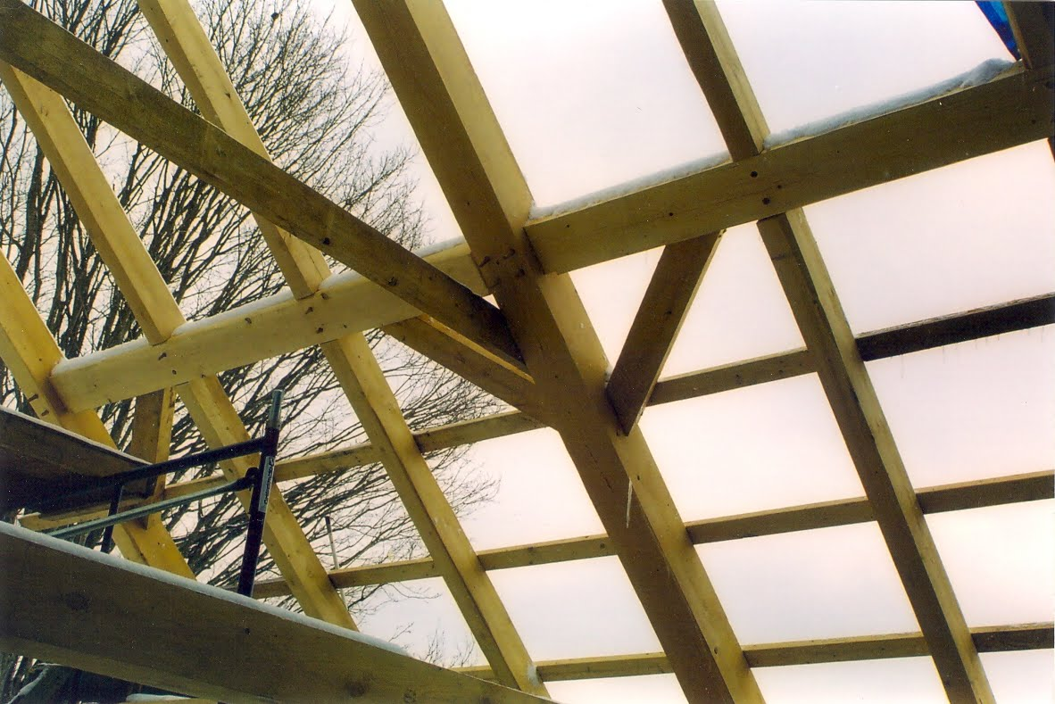 The roof was framed out with principal rafters, prinicipal purlins and common rafters.