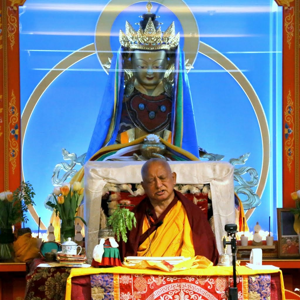 Lama Zopa Rinpoche during the Vajrasattve initiation at Maitripa College, Portland, US, April 2014. Photo by Ven. Thubten Kunsang.