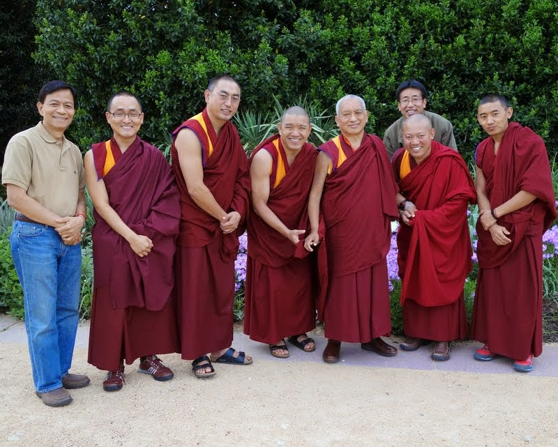 Lama Zopa Rinpoche with (from left) Son Pham, Ven. Sherab, Geshe Sangpo, Geshe Gelek, Damcho (in back), Geshe Tenley and Ven. Sangpo after a walk in a park, Raleigh, North Carolina, US, May 2, 2014. Photo by Ven. Roger Kunsang.