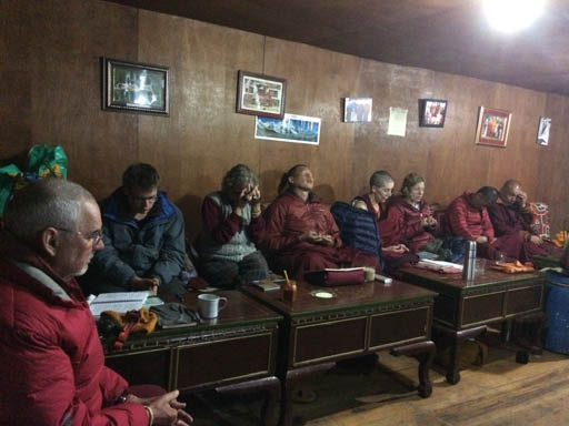 Lama Chöpa tsog with Lama Zopa Rinpoche at Lawudo Retreat Centre, Nepal, April 2015. Photo by Harry Sutton.
