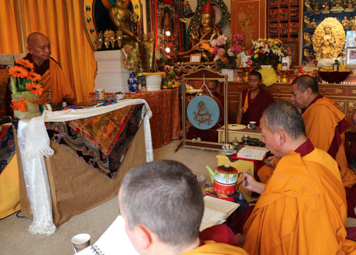 Lama Zopa Rinpoche leading Medicine Buddha puja at Dorje Chang Institute, New Zealand, May 2015. Photo by Ven. Thubten Kunsang.