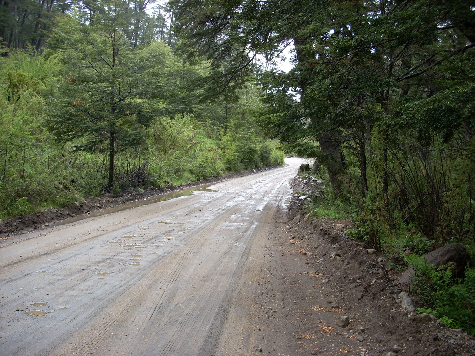Cold, wet, narrow dirt road. Good times