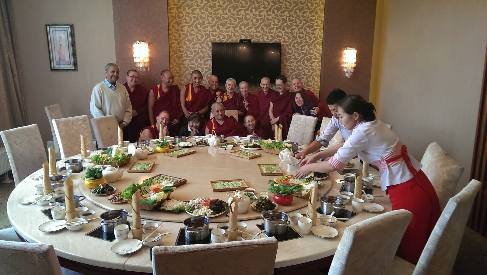Sangha lunch: A delicious vegetarian lunch in Mongolia. Rinpoche enjoyed very much! Sept 2013 Photo. Ven.Roger Kunsang