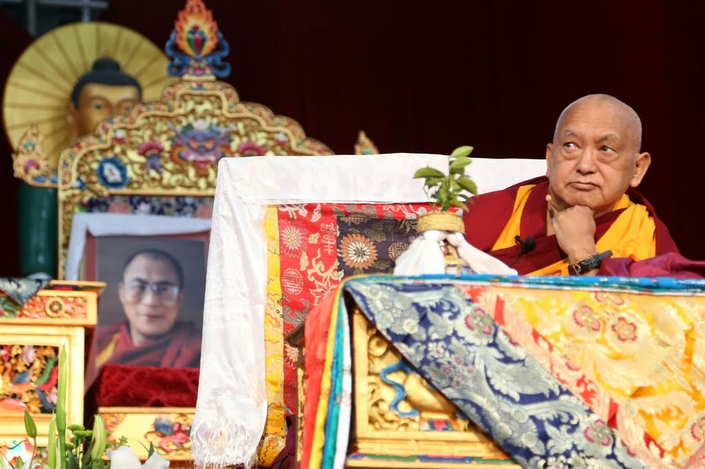 Lama Zopa Rinpoche teaching during the Amitayus long life initiation at CPMT 2014, Great Stupa of Universal Compassion, Australia, September 17, 2014. Photo by Ven. Thubten Kunsang.