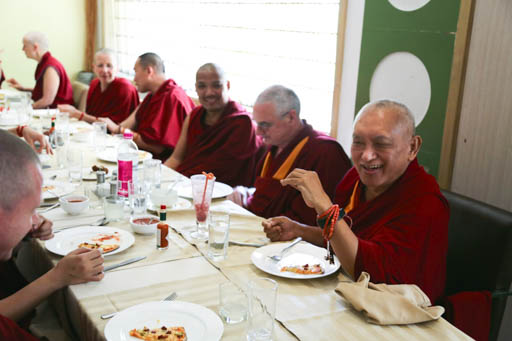 Lama Zopa Rinpoche enjoying lunch with Sangha in Bangalore, India, January 2015. Photo by Ven. Thubten Kunsang.