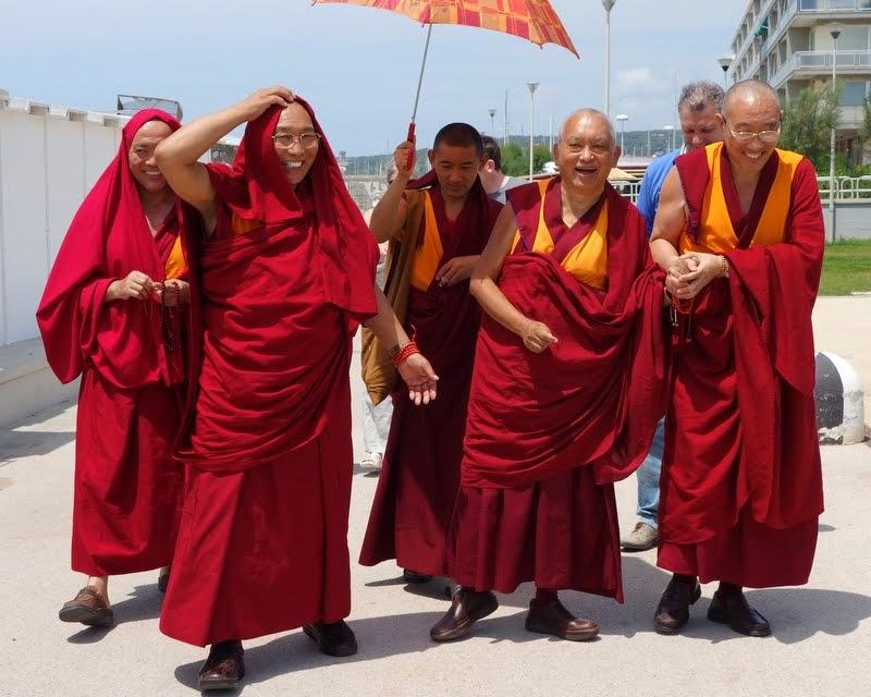 Dagri Rinpoche and Lama Zopa Rinpoche with Geshe Tenphel and Geshe Gelek (resident geshes at ILTK), Ven. Sangpo (Rinpoche's attendant) and Filippo Scianna (director of ILTK) going for lunch after His Holiness the Dalai Lama's visit, Italy, June 18, 2014. Photo by Ven. Roger Kunsang.