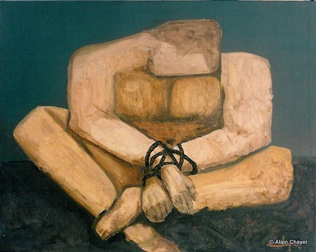 034 - Le Prisonnier - 1993 92 x 65 - Acrylique sur toile