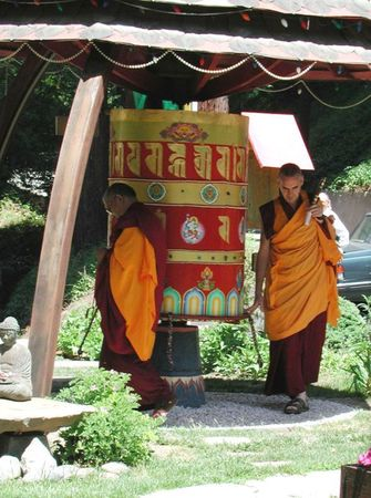 Lama Zopa Rinpoche and Ven. Roger Kunsang, Land of Medicine Buddha prayer wheel.