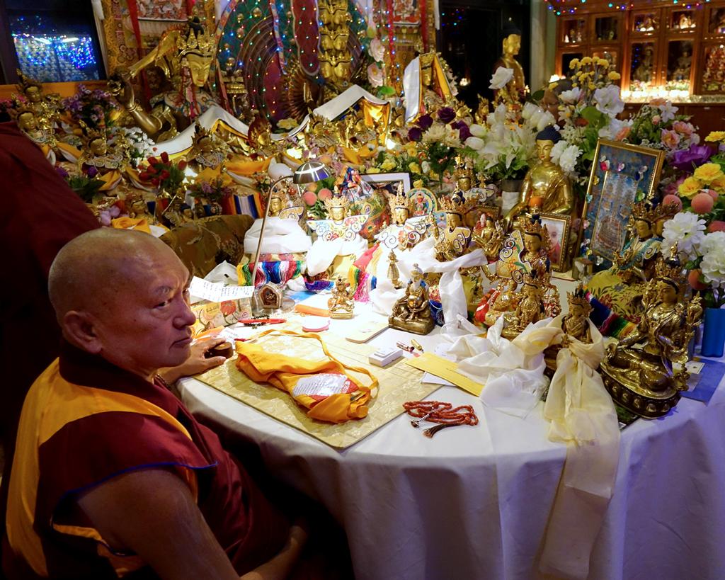 Lama Zopa Rinpoche in his room at Kopan Monastery, Nepal, December 2014. Photo by Ven. Roger Kunsang.
